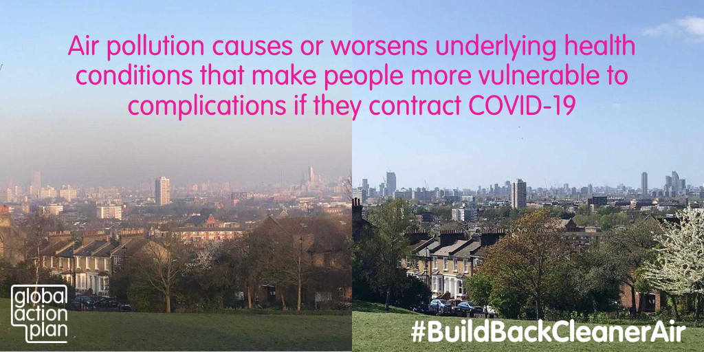 Air pollution causes or worsens underlying health conditions that make people more vulnerable to complications if they contract COVID-19