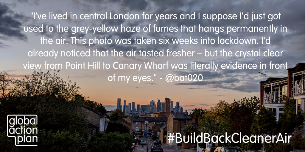 I've lived in central London for years and I suppose I'd just got used to the grey-yellow haze of fumes that hangs permanently in the air. This photo was taken six weeks into lockdown. I'd already noticed that the air tasted fresher - but the crystal clear view from Point Hill to Canary Wharf was literally evidence in front of my eyes.