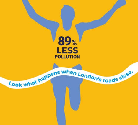London Marathon graphic showing cut in air pollution