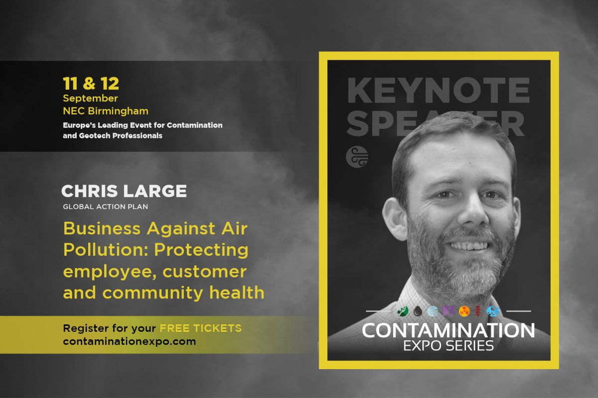 Poster for the Contamination expo series, with keynote speaker Chris Large
