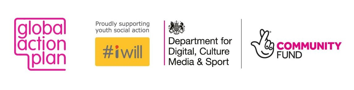logos for global action plan, #iwill, Deparetment for Digita, culture, media & sport and the National Lottery Community Fund