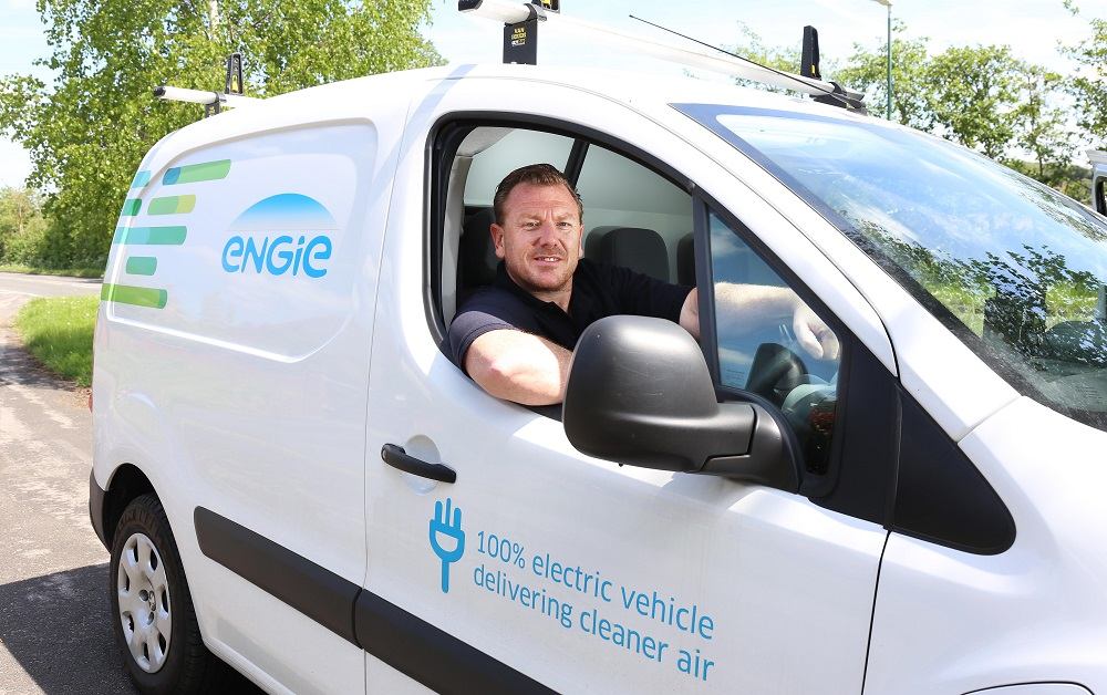 A driver in a 100% electric van