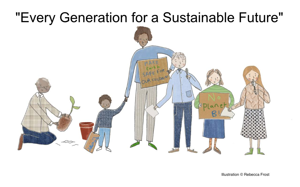 "An illustration with the title ""Every generation for a sustainable future"" the image shows a mixure of young and old people speaking, demonstrating and planting."