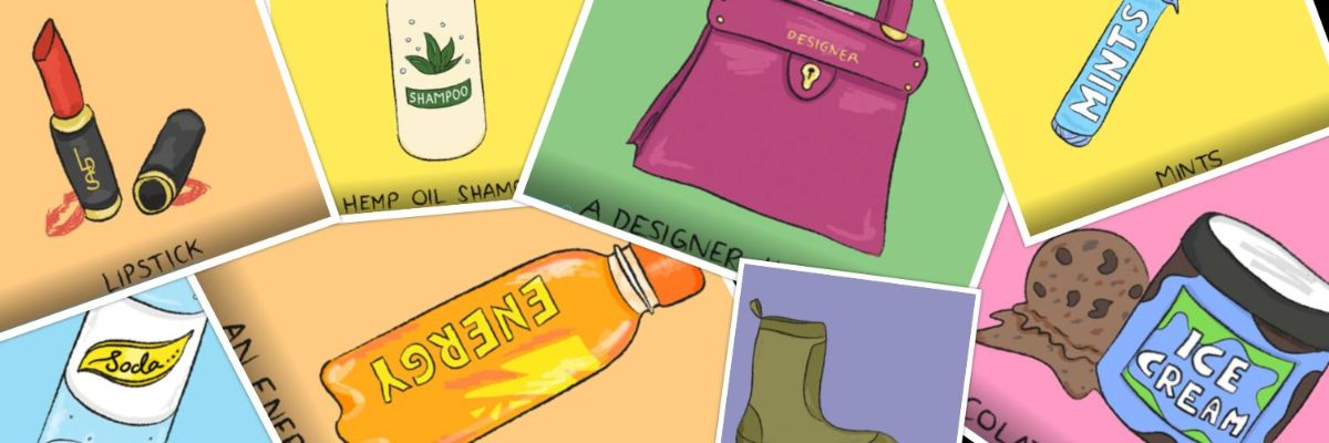 an illustration of different products that get advertised to people including energy drinks, lipstick, designer handbags, ice cream, shampoo and mints
