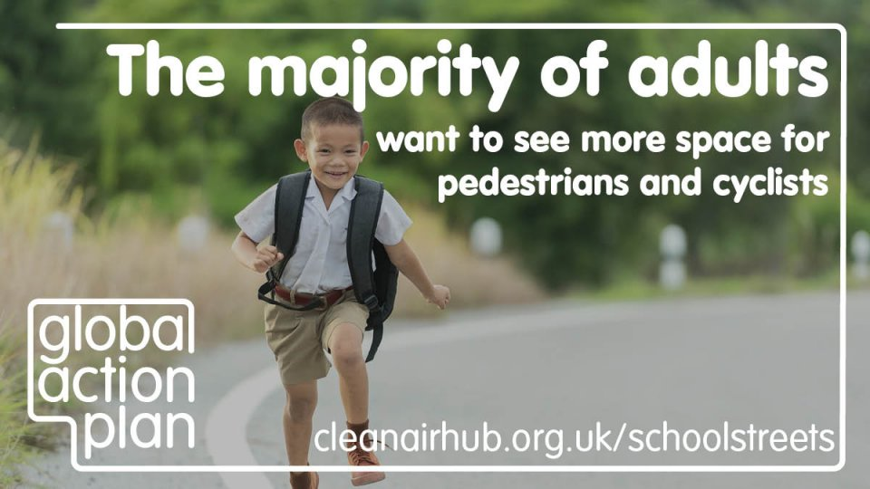 The majority of adults want to see more space for pedestrians and cyclists