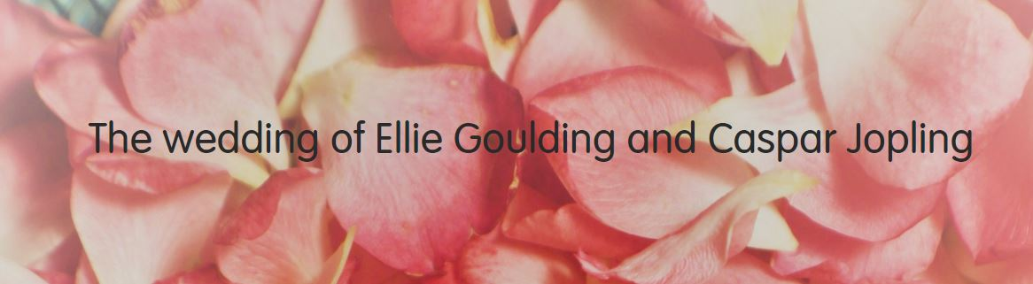 "a background of rose petals with the words ""the wedding of ellie goulding and caspar jopling"" on it."