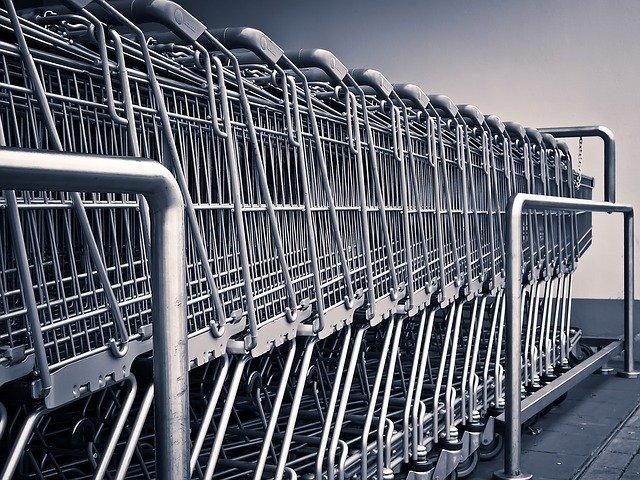 Row of shopping trolleys